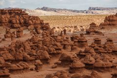 Spectacular landscapes of Goblin valley state park in Utah, USA. Spectacular landscapes of Goblin valley state park in Utah stock photos