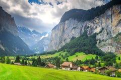 Spectacular Lauterbrunnen town with high cliffs,Bernese Oberland,Switzerland,Europe Stock Photography