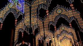 Spectacular lighting fair on overnight, Jerez de la Frontera stock footage