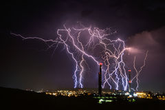 Spectacular Lightning Over City. Brno, Czech Republic Royalty Free Stock Images