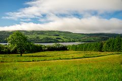 Spectacular Loch Tay lake landscape from a flying disc golf course Stock Image