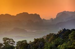 Spectacular look at the Krabi province from Tiger Cave Monastery Royalty Free Stock Image