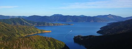 Spectacular Marlborough Sounds. Beautiful landscape in New Zealand. View from a viewpoint of the Queen Charlotte track. Scene on the South Island Stock Photography