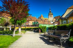 Spectacular medieval city center with ornamental park, Sighisoara, Transylvania, Romania stock photos