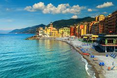 Spectacular Mediterranean riviera coast with Camogli resort, Liguria, Italy, Europe. Fantastic summer beach location, majestic colorful Mediterranean town and Royalty Free Stock Images