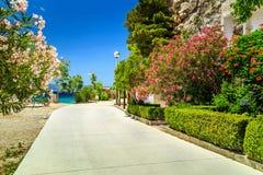 Spectacular mediterranean street near majestic beach,Brela,Croatia,Europe Royalty Free Stock Image