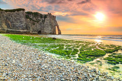 Spectacular mossy beach and magical sunset near Etretat,Normandy,France stock images
