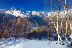 Spectacular Mount Ushba, located on southern slope of the Causacus Mountains Royalty Free Stock Images