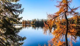 Strbske pleso Strbske lake in High Tatras national park, North Slovakia stock photo