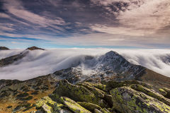 Spectacular mountain scenery in the Alps, with sea of clouds Stock Photography
