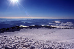 Spectacular Mountain Top View. View from the summit of Mount Rainier, Washington State stock photo