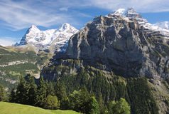 Spectacular mountain views between Murren and Allmendhubel (Berner Oberland, Switzerland). Murren is a traditional mountain village in Bernese Oberland ( Royalty Free Stock Photos