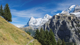 Spectacular mountain views between Murren and Allmendhubel (Berner Oberland, Switzerland). Murren is a traditional mountain village in Bernese Oberland ( Stock Photo
