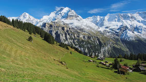 Spectacular mountain views between Murren and Allmendhubel (Berner Oberland, Switzerland). Murren is a traditional mountain village in Bernese Oberland ( Royalty Free Stock Photo