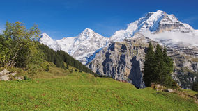 Spectacular mountain views between Murren and Allmendhubel (Berner Oberland, Switzerland). Murren is a traditional mountain village in Bernese Oberland ( Royalty Free Stock Images