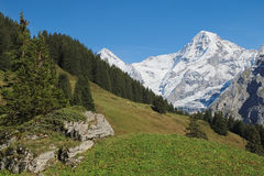 Spectacular mountain views between Murren and Allmendhubel (Berner Oberland, Switzerland). Murren is a traditional mountain village in Bernese Oberland ( Royalty Free Stock Photography