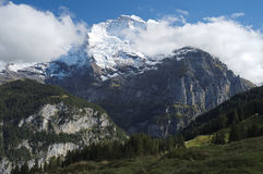 Spectacular mountain views near the town of Murren (Berner Oberland, Switzerland). Murren is a traditional mountain village in Bernese Oberland (Switzerland). It Royalty Free Stock Photography