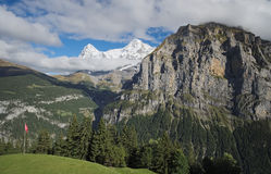 Spectacular mountain views near the town of Murren (Berner Oberland, Switzerland). Murren is a traditional mountain village in Bernese Oberland (Switzerland). It Royalty Free Stock Photos