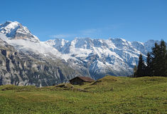 Spectacular mountain views near the town of Murren (Berner Oberland, Switzerland). Murren is a traditional mountain village in Bernese Oberland (Switzerland). It Royalty Free Stock Images