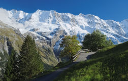 Spectacular mountain views near the town of Murren (Berner Oberland, Switzerland). Murren is a traditional mountain village in Bernese Oberland (Switzerland). It Stock Image