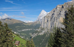 Spectacular mountain views near the town of Murren (Berner Oberland, Switzerland). Murren is a traditional mountain village in Bernese Oberland (Switzerland). It Royalty Free Stock Image