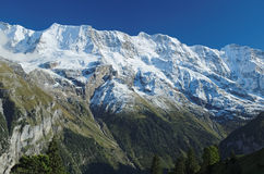 Spectacular mountain views near the town of Murren (Berner Oberland, Switzerland) Stock Image