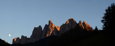 The spectacular mountains group of Odle in the Natural Park of Odle-Puez. Dolomites, Northern Italy. Royalty Free Stock Photos