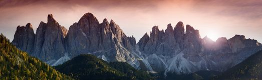 The spectacular mountains group of Odle in the Natural Park of Odle-Puez. Dolomites, Northern Italy. The spectacular mountains group of Odle in the Natural Park Royalty Free Stock Photo