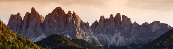 The spectacular mountains group of Odle in the Natural Park of Odle-Puez. Dolomites, Northern Italy. Royalty Free Stock Images