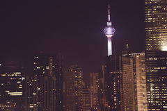 Spectacular night city view. Kuala Lumpur skyscrapers, Malaysia. Business metropolis. Modern buildings. Luxurious travel and touri Royalty Free Stock Image