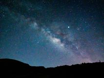 Spectacular night scene of the Milky Way over the mountains royalty free stock images