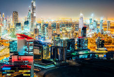 Spectacular nighttime skyline: skyscrapers of a big modern city. Downtown, Dubai Royalty Free Stock Photo