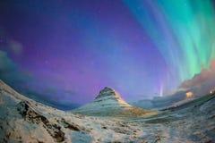 Spectacular northern lights appear over Mount Kirkjufell Stock Image