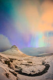 Spectacular northern lights appear over Mount Kirkjufell Stock Photography