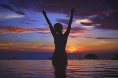 Sunset Ocean Silhouette royalty free stock photo