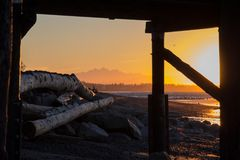 Free Spectacular Orange-infused Sunrise, White Rock Beach, BC, Canada Royalty Free Stock Photos - 107243068