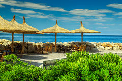 Spectacular outdoor tropical beach bar, Brela, Dalmatia, Croatia, Europe Stock Photography