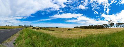 Spectacular panorama of countryside road and field Royalty Free Stock Photo
