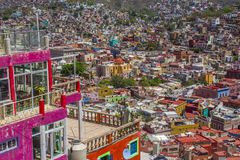 Spectacular Panorama Landscape Above the City of Guanajuato, Mexico stock images