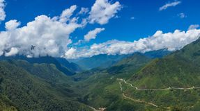 Spectacular panorama landscape of tropical mountain valley Stock Photos
