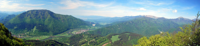 Spectacular panorama with mountains, river and blue sky with clouds during hiking to Sip hill in Velka Fatra mountains in Slovakia Stock Image