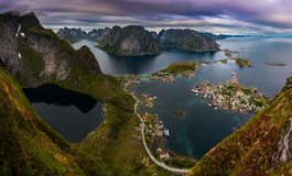 Spectacular Panorama from Reinebringen over Reine Town Royalty Free Stock Photo