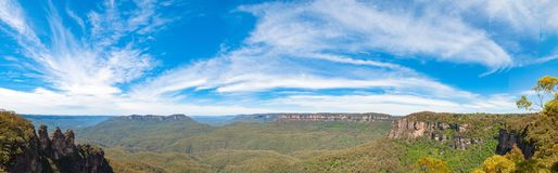 Spectacular panorama of Three sisters natural landmark Royalty Free Stock Image