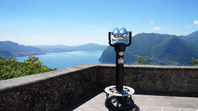 Spectacular panorama: Viewpoint from the sanctuary Santuario della Madonna della Ceriola in Monte Isola on Lake Iseo Royalty Free Stock Photography