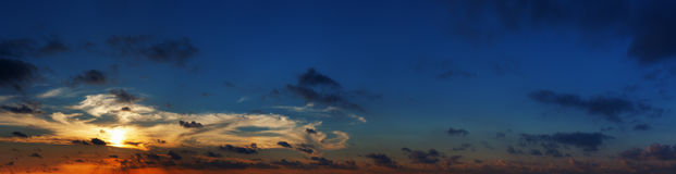 Spectacular panoramic photo of sunset over sea. High resolution. Royalty Free Stock Image