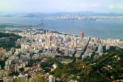 Spectacular panoramic view of the downtown with skyscrapers, Rio de Janeiro, Brazil, South America royalty free stock photography