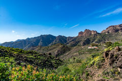 Spectacular panoramic view of Fataga valley on Gran Canaria (Grand Canary) royalty free stock images