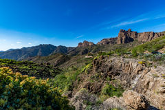 Spectacular panoramic view of Fataga valley on Gran Canaria (Grand Canary) royalty free stock image