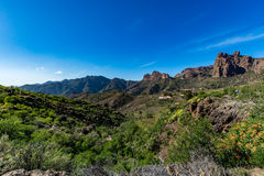 Spectacular panoramic view of Fataga valley on Gran Canaria (Grand Canary) Royalty Free Stock Photo