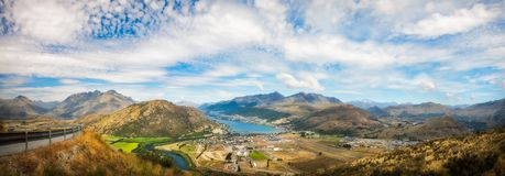 Spectacular Panoramic Views over Queenstown. Spectacular Panoramic Views of the Mountain range surrounding Queenstown City and Airport with mountain tops such as Royalty Free Stock Photo